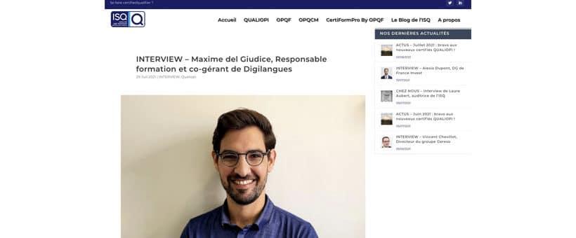 Interview de Maxime del Giudice chez ISQualification